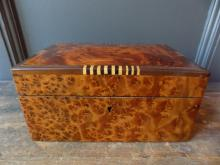 Art Deco Burl Wood Jewellery Box