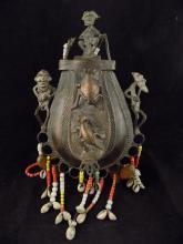 African Bronze Figural Beaded Water Vessel