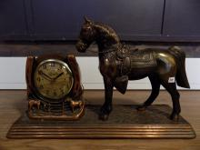 Breslin Industries Coppered Mantle Clock with Horse