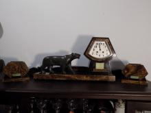 Art Deco Lion Clock and Tazzas. Clockwork by F. Martin