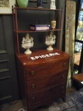 English Edwardian Bowfront Chest of Drawers with Attached Shelving