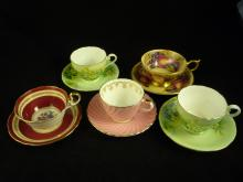 Lot of 5 Aynsley Teacups and Saucers