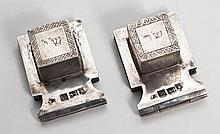 A Pair of Silver Tefillin Boxes for Miniature Tefillin - Polotsk, 1870