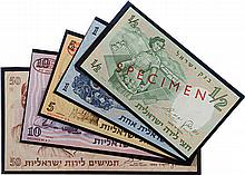 Bank of Israel - Complete Series of Specimen Banknotes, 1958