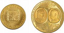 Two Gold Medals - Tenth Anniversary of the Bank of Israel / Rothschild Medal