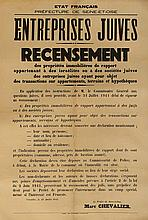 Poster Issued by the French Government - Confiscation of Jewish Property - July, 1941