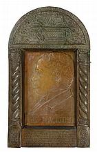 "Rare Ceramic Plaque Created by Boris Schatz – Portrait of Prof. Otto Warburg – Repousée Brass Frame – ""Bezalel"", 1905 / 1929"