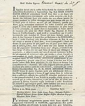 Printed Emissary Letter in Italian for Hebron Emissary Rabbi Chaim Avraham Yisrael Ze'evi - Livorno, 1784