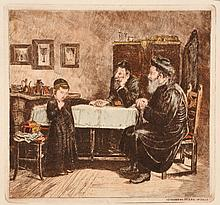 Isidor Kaufmann - Rabbis and Student, Etching