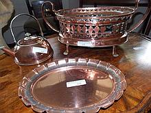 Copper kettle, funnel, oval copper planter with
