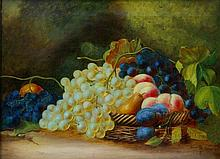 A Victorian oil on canvas: Still life of fruit on