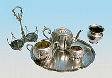 A three piece Victorian EPBM teaset and oval tray,
