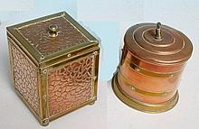 Old brass and copper tea caddy and canister.