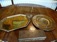 Lot of brass trays, etc.