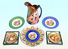 Lot of decorative Limoges plates, Tunstall jug and
