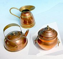 Small copper kettle, jug and urn.