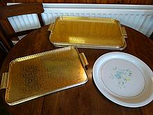 Lot of serving trays.