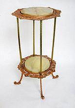 A copper and marble 2 tiered plant stand with