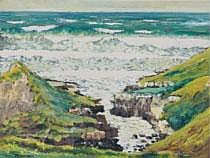 PATRIC STEVENSON RUA (1909-1983) ROUGH SEA,