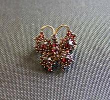 Antique Vermeil & Garnet Butterfly Brooch Pin