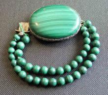 Vintage Malachite & Silver Filigree Bracelet