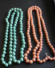 Antique Beaded Turquoise & Coral Necklaces