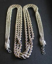 Silver Triple Rope Chain Necklace