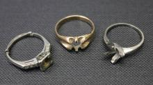 Three 14K Gold Ring Mounts.