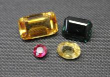 4 Loose Stones - Citrine, Spinel, Ruby & Peridot
