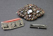 3 Brooch Pins, Art Deco and Edwardian.