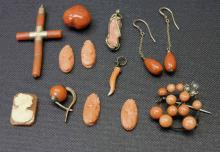 15 Assorted Neapolitan Coral Jewelry Articles