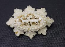 Antique Carved Ivory Deer Motif Brooch Pin