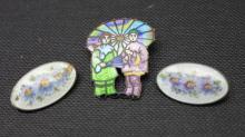 Three Enamel & Silver Brooch Pins