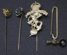 Five Antique Gold Lapel Pins