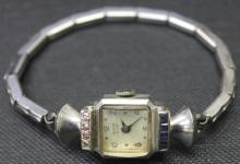 Antique Art Deco Ladies Diamond & Sapphire Watch