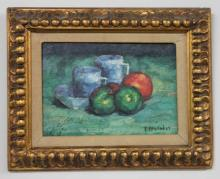 Oil On Board Still Life Cups and Fruit