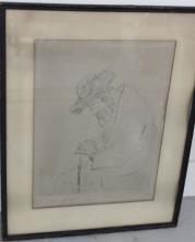 Framed Sketch of Man in Hat signed I. Abramofsky
