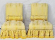 Pair of Roll Back Slipper Chairs w Roll Pillows