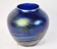 John Lewis Blue Moon Vase Signed
