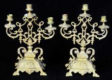 Pair of Bronze Three Arm Candelabra
