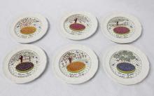 Set of Six Small Gien Dessert Plates