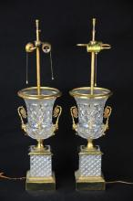 Pair of Cut Crystal Bronze Mounted Urn Lamps