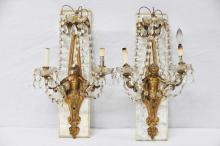 Pair of Marble Mounted Bronze Putti Wall Sconces