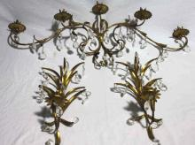 Three Gilt and Crystal Candle Sconces