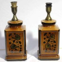 Two Square Ceramic Lamps with Floral Motif