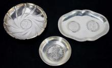 Three Silver Dishes Mounted w/ Continental Coins