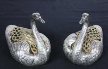 Pair Large Sterling Silver Gorham Swan Statues