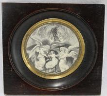 Antique Georgian Ebony Frame Portrait Miniature