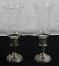 Pair Sterling Candle Sticks w/ Glass Hurricanes