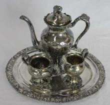 Victorian Grape Leaf Motif Tea Service & Tray